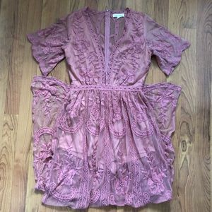 Honey Punch Lace Maxi Romper Dress in Ginger